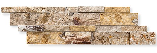 Valencia Travertine 6 X 20 Stacked Ledger Wall Panel Tile, Split-faced (SMALL SAMPLE PIECE) (Stone Fireplace Stacked)