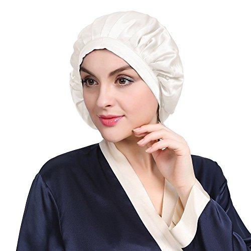 LilySilk Silk Sleep Cap for Women Traceless Half Black Elastic 100 Pure Mulberry Silk 19 Momme Flat Cap Sleeping for Hair Ivory by LilySilk