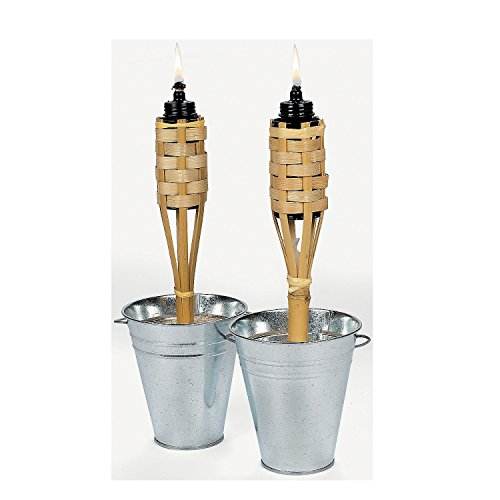 Mini Bamboo Tiki Torches (Case Of 12) Luau Party Tabletop Lighting
