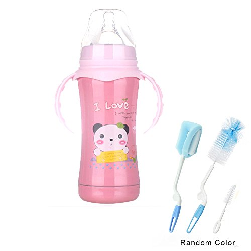 Steel Boa (Sealive Sippy Kids Cartoon Stainless Steel Water Bottle with Wide Caliber Handle Straw Bottle Insulation Cup Double(240ml,Pink),with 3 in 1 Bottle Cleaning Brush Set)