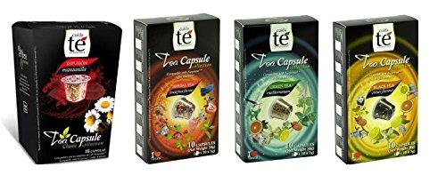 - 40 Nespresso Compatible Tea Pods - Tea Variety Pack: Chamomile (Manzanilla), Forest Fruit Tea, Black Citrus Tea, and Mediterrean Green Tea (1 box each / 10 pods per box)