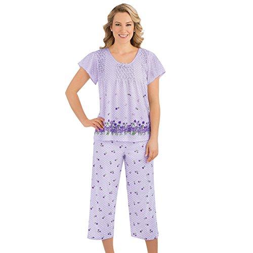Collections Etc Women's Border Floral Print Pajama Set, Lavender, Medium