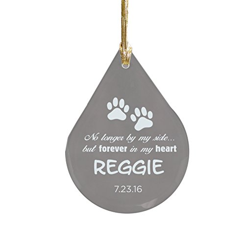 Engraved Pet Memorial Tear Drop Glass Ornament, 3 3/4