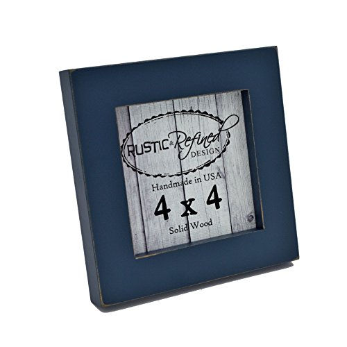 4x4 Solid Wood Made in USA Picture Frame with 1 inch Border (Gallery Collection) - Navy Blue (Photo 1 Inch Frames)