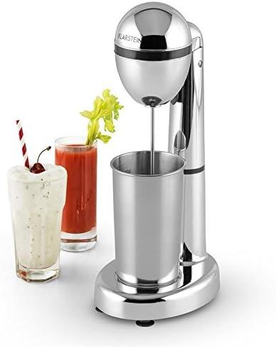 Klarstein van Damme Mezclador de bebidas - Batidor de smoothies, batidos, cremas y cócteles, Vaso mezclador, Portavasos, 100 vatios, 22.000 rpm, Capacidad: 450 ml, Vaso Acero inox, Metalizado