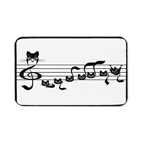 Music Decor Precise Mouse Pad,Notes Kittens Kitty Cat Artwork Notation Tune Children Halloween Stylized for Home & Office,15.75''Wx23.62''Lx0.12''H]()