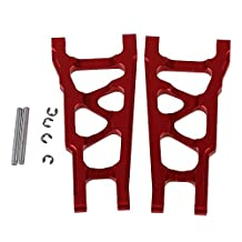 BQLZR Red SLA007 Aluminum Alloy Front & Rear Suspension Arms Upgrade Parts for TRAXXAS SLASH 4X4 & HQ727 Short Truck RC Car Pack of 2