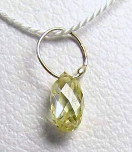 18k Vs2 Necklace - .27cts Natural Canary Diamond & 18K Gold Pendant for Jewelry Making 6568Q1