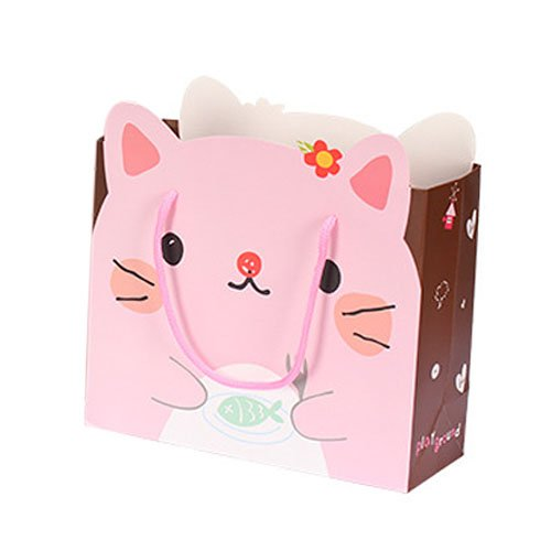 Pack of 6 White Kraft Paper Bags With Handles – Pink – 11.8″x10.6″x4.7″