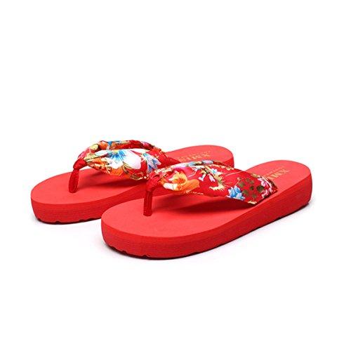 sandali Boemia della floreali da piattaforma casa Butterme Scarpe infradito estiva Donne Golden Red spiaggia Sandalo zeppa pantofole AwtIEqx5n