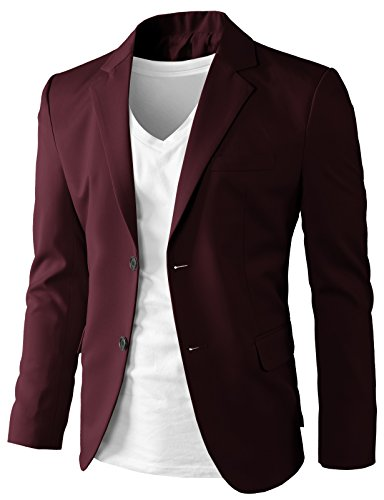 H2H Mens Blazers Slim Fit 2 Buttons Casual Sport Coat Blazer Jacket Wine US S/Asia L (Blazer For Men)