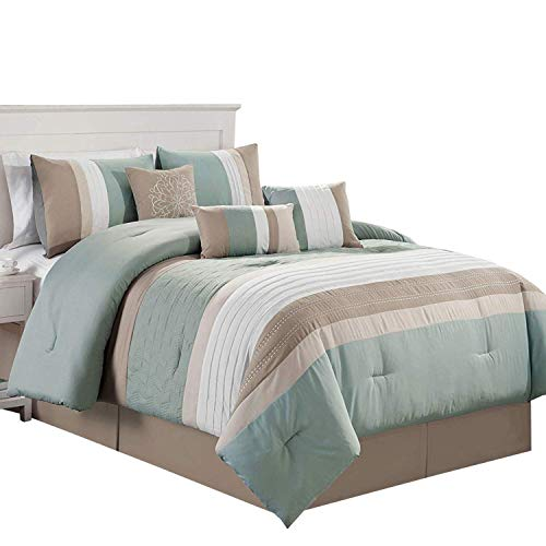 Royal Hotel Kemp Green, Taupe, Ivory and Beige King Size Luxury 11 Piece Comforter Set Includes Comforter, Sheets, Skirt, Throw Pillows, Pillow Shams ()