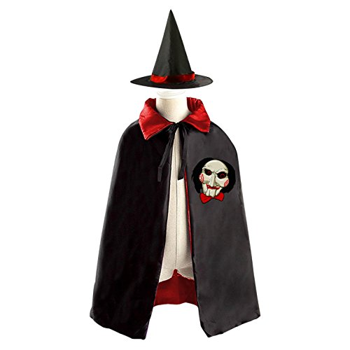 Jigsaw Billy Kids Halloween Witch Cape Cloak Wizard Cap Hat (Sweet Peach Costumes)