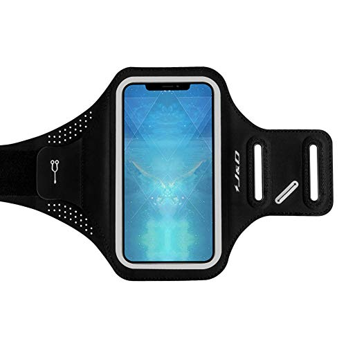 J&D Armband Compatible for iPhone XR Armband, Sports Armband with Key Holder Slot for Apple iPhone XR Running Armband, Perfect Earphone Connection While Workout - Black