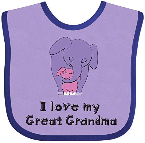 - Inktastic - I Love my Great Grandma Elephant Baby Bib Lavender and Purple 26d60