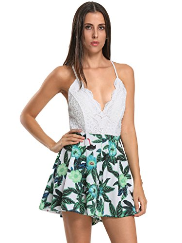 Persun Womens V neck Overlay Floral