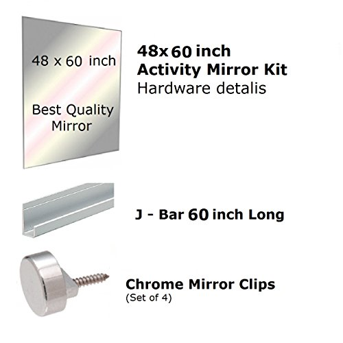 "Fab Glass and Mirror GM48x60 Activity Mirror Kit for Gym & Dance with Safety Backing, 48"" x 60"""