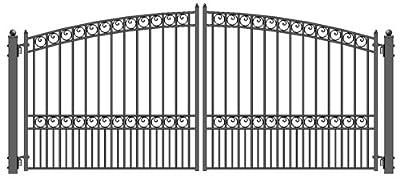 ALEKO® Paris Style Iron Wrought Gate 16' High Quality Ornamental Dual Swing Driveway Gates 16'