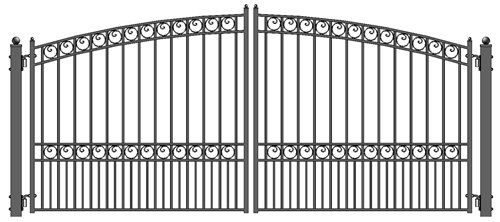 ALEKO Paris Style Iron Wrought Gate 12' Ornamental Dual Swing Driveway Gates (Ornamental Wrought Iron Gates)