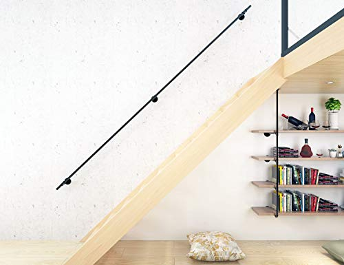 (DIYHD 10FT 3 Wall Support Industrial Black Iron Loft Pipe Handrail for Stairs, 10 Feet,)