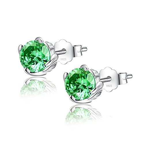 Sterling Silver Simulated Emerald May Birthstone Earrings Studs Cubic Zirconia, Gifts for Women