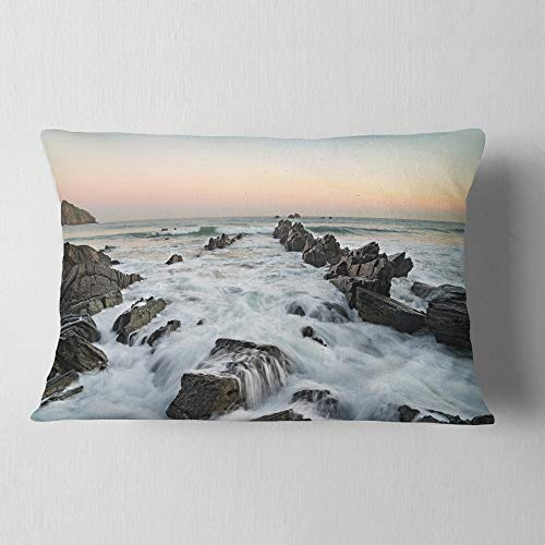 Designart CU10911-12-20 Bay of Biscay Spain Seashore' Landscape Printed Throw Lumbar Cushion Pillow Cover for Living Room, Sofa, 12 in. x 20 in. by Designart