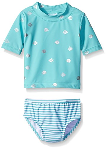 Carter 39 s baby short sleeve foil fish rash guard set mint for Baby rash guard shirt