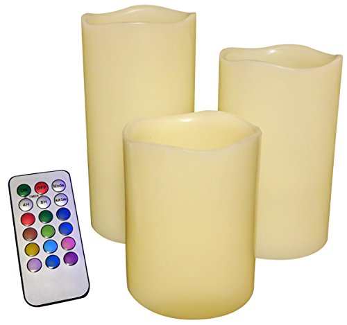 LED Flameless Flickering Color Changing Candles with Remote Control- Set of 3, Pillar Style, Ivory Color, Real Dripless Paraffin Wax, 3