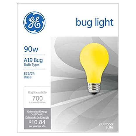 GE LIGHTING 61435 GE Bug Light Bulb, 90W, Yellow, 2-Pack