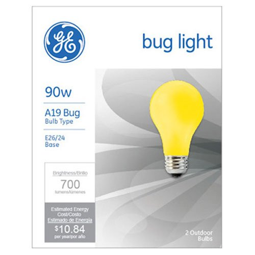 G E LIGHTING 61435 GE Bug Light Bulb, 90W, Yellow, 2-Pack - Yellow Bug Light Bulb