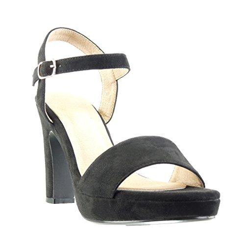 Angkorly - Scarpe da Moda sandali scarpe decollete zeppe sexy donna tanga fibbia Tacco a blocco tacco alto 11 CM - Nero