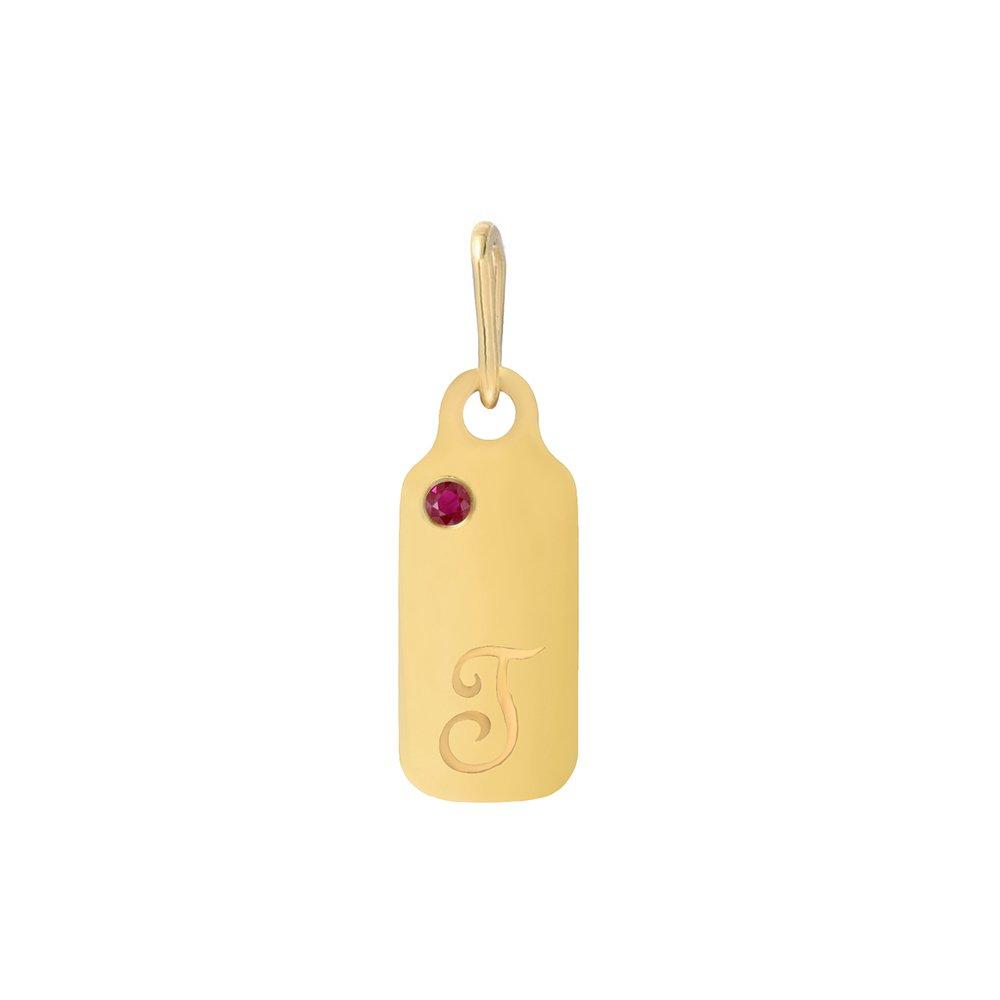 14k Gold Garnet January Birthstone Cursive Letter T Dog-tag Necklace