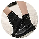 The fairy Women Lace Up Martin Boots Round Toe Pu Leather Boots Shoes