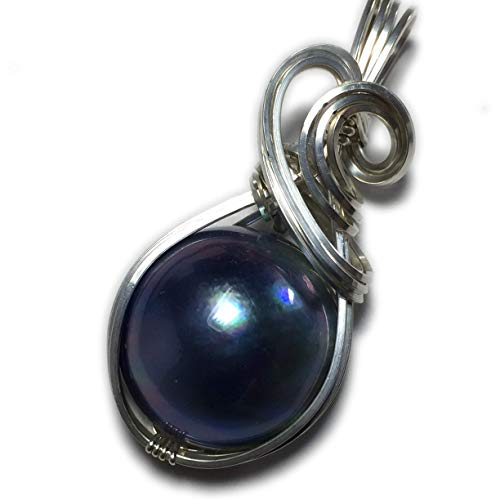 - Rocks2Rings MABE PEARL PENDANT Sterling - Silver Blue Black with Black Leather Necklace Wire Wrapped Jewelry BBS Z