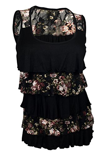 eVogues Plus Size Tiered Ruffle Tank Top Black Floral Print - (Tiered Ruffle Top)