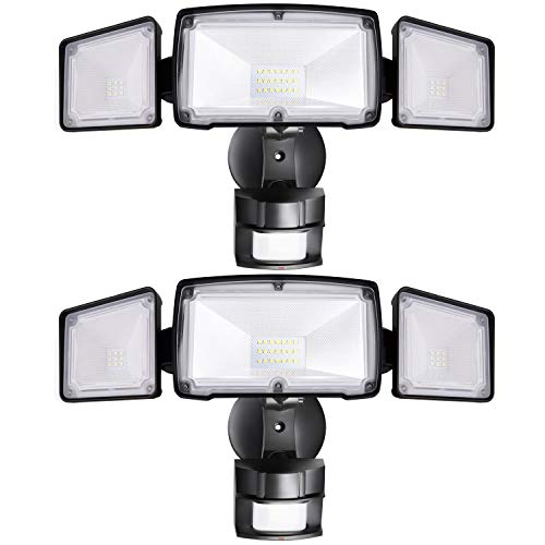 2 Pack 3-Head LED Security Lights Motion Outdoor, Motion Sensor Light Outdoor, 40W 3500 Lumens, 5000K, Waterproof, IP65 ETL, Motion Activated Flood Light