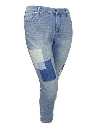 Style & Co. Womens Plus Patchwork Curvy Fit Boyfriend Jeans Blue 24W