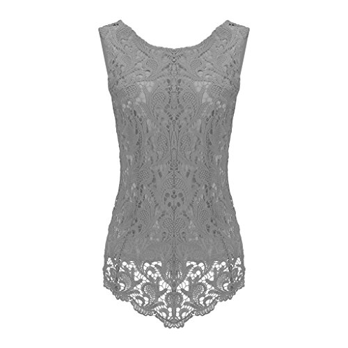 Sumtory Women's Lace Blouse Sleeveless Embroidery Tops Vest Shirt Blouse – Small, Grey