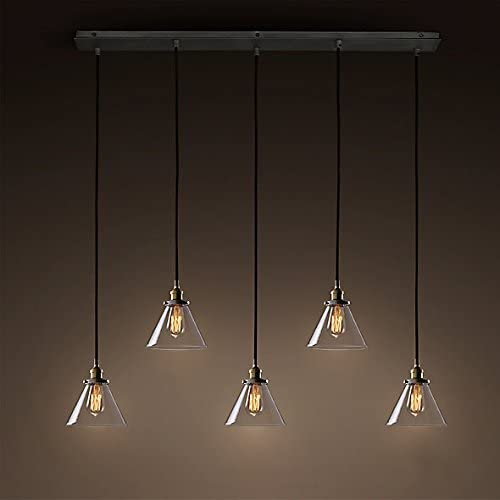 Industrial Retro Country Style Clear Glass Island Chandelier – LITFAD Clear Cone Glass Shade Four Lights Pendant Light Antique Brass Bronze Finish Ceiling Light E