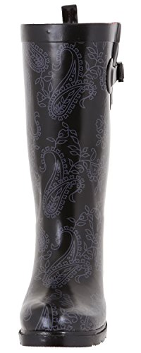 amp; Black Roses New Ladies Lace Lace Capelli Rainboot Printed York Shiny Tall OxXgqw7Z