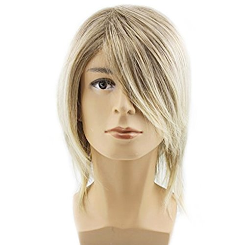 RightOn Men's Medium Style Wavy Bouncy Side Swept Fringe Bang Hairstyle Wig With Free Wig Cap and Comb (Deep (Bouncy Hair Wig)