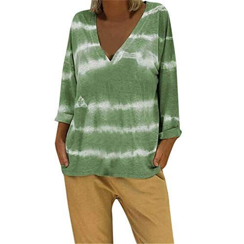 Sunhusing Ladies Summer Casual Home Loose Large Size Sexy Deep V-Neck Tie Dyed Printing Long-Sleeve T-Shirt Green