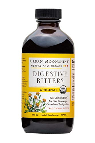 Urban Moonshine Original Digestive Bitters | Traditional Organic Herbal Supplement | Fast-Acting Relief for Gas, Bloating & Occasional Indigestion | 8 FL OZ (Pack of 1)