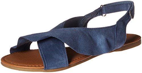 Qupid Women's X-Band Sandal Flat, Ocean Blue, 8 M US
