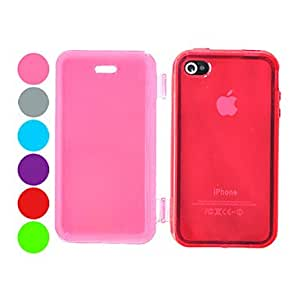 TPU Pure Color Transparent Full Body Case for iPhone 4/4S(Assorted Color) --- COLOR:Red