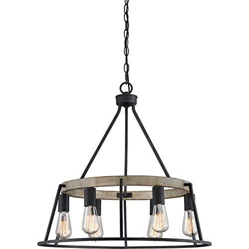 (Quoizel BRT5006GK Brockton Farmhouse Chandelier Lighting, 6-Light, 600 Watts, Grey Ash (24