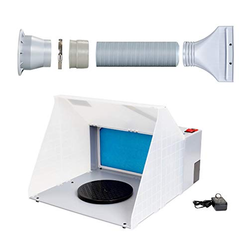 Master Airbrush Portable Hobby Airbrush Craft Spray Booth (Without Optional LED Lighting) for Painting All Art, Cake, Craft, Hobby, Nails, T-Shirts & More. Includes 5.6ft Exhaust Extension (Best Master Airbrush 12v Compressors)