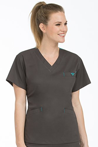 Med Couture Women's V-Neck Signature 3 Pocket Scrub Top, Charcoal/Aruba Blue, Small - Aruba Blue Apparel