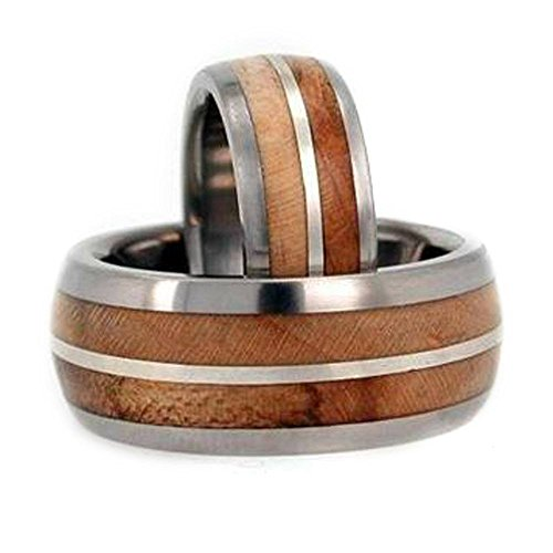 Maple Wood, Sterling Silver Comfort Fit Titanium Couples Wedding Band Set Size, M15-F9.5 by The Men's Jewelry Store (Unisex Jewelry)