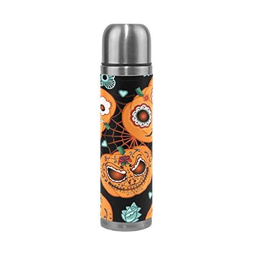 My Little Nest Cartoon Halloween Pumpkin Flowers Spiderweb Stainless Steel Vacuum Bottle Water Cup Mug Thermos Flask 500ML -